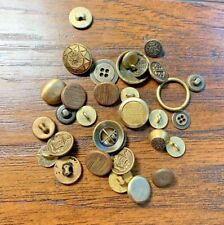 VINTAGE BUTTONS LOT Gold Brass Colored Metal