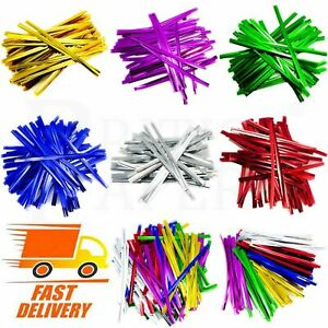 Metallic Twist Ties For Cone Cellophane Plastic Bags Party Cake Pops Sweet Cello