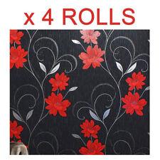 Black Red Flower Wallpaper Glitter Floral Textured Effect Metallic Bulk 4 Rolls