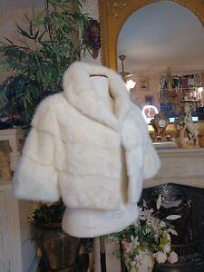 VTG WHITE IVORY MINK STOLE CAPE WRAP BOLERO BLONDE WEDDING COAT JACKET REAL FUR