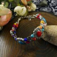 Multicolor Jade Turquoise Tibet Silver Charm Bracelet