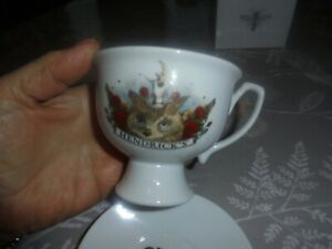 """HENDRICKS """"For a dreamer, nights the only time of day"""" CHINA  GIN CUP & SAUCER."""