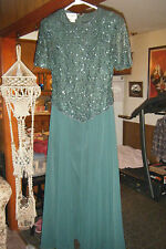 BRILLIANTE by J.A. Dark Green Formal Evening Dress SEQUINS BEADS on LACE size S