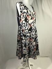 Jete Womens 1X Exposed Back Zipper Black Gray Orchid Print Party Casual Dress