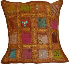"""Cushion Covers 16""""x16"""" Indian Heavy Embroidery Sari Patchwork Square zip 40cm"""
