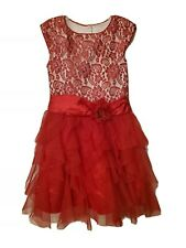 Jona Michelle Red Lace floral party, Holiday, Christmas,  Pageant Dress Size 6