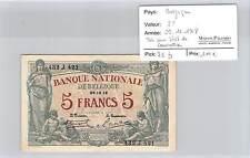 BILLET BELGIQUE - 5 F FRANCS - 29.12.1918 - TRES RARE ETAT DE CONSERVATION !!!