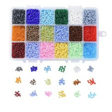 Craft set box of 1-2mm Round Seed Glass Beads. 10000+ beads. 18 colours