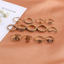 13Pcs/Set Boho Elephant Fatima Finger Knuckle Ring Band Midi Rings Stacking Ring