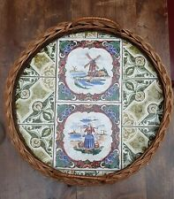 Vintage Antique Dutch colourful Tiles framed in Rattan Tray Holland scenery Rare