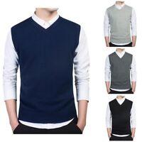 New Men Sweater Slim Vest V Neck Sleeveless Autumn Warm Casual Cotton Pullover