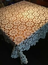 "Antique Vintage Off white Cotton Hand Crocheted Tablecloth Pinwheel 57"" x 59"""