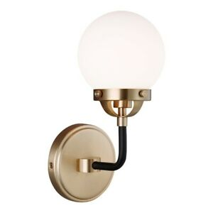 Sea Gull Lighting Cafe 1 Light Sconce, 60W, Bronze/Etched/White - 4187901-848