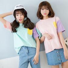 Kawaii Clothing Cute Harajuku T-Shirt Ropa Pastel Pink Blue Pocket Camiseta Cool