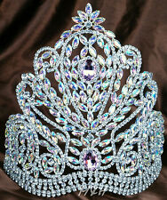 "Luxurious 9"" Tiara Crown Handmade AB Rhinestones Miss Beauty Pageant Headpiece"