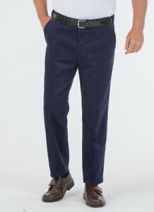 Mens Comfort Waist Needle Cord Flat Front Trouser Corduroy Navy Fawn 32-52