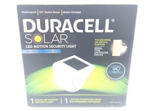 Duracell Solar LED Motion Security Light 90 Lumens Lithium Rechargeable Battery