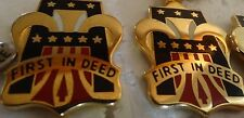 MILITARY INSIGNIA CREST DUI SET OF 2 1ST FIRST ARMY FIRST IN DEED