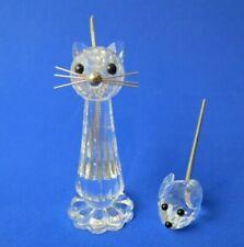 "Vintage Swarovski Crystal Cat 3.5"" & Mouse 1.75"" Metal Coil Tails Figurines"