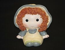 Vintage 70s Ceramic Rag Doll Coin Bank w Yellow Bibs by Bradley Exclusives Japan