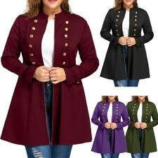 Women Fashion Plus Size Vintage Longline Coat Double Breasted Flare Coat Jacket