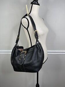Vintage 90s DOONEY & BOURKE Black Pebbled Leather Hobo purse bag  Buckle black