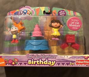 NEW Fisher Price DORA THE EXPLORER  Lets Go Adventure Birthday Set/ Cake Topper