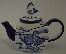 Blue and White Ceramic Porcelain Teapot with Candle Inside - Duck