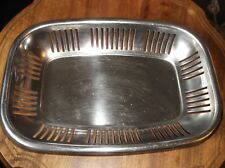 VINTAGE RETRO STAINLESS STEEL OBLONG DISH ~ VERTICAL PIERCED SIDES IDEAL BREAD