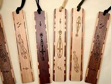 Made-in-the-USA Tasseled Inlaid Wood Bookmark Engraved with Mountain Dulcimer