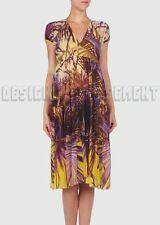 JEAN PAUL GAULTIER yellow & violet M RAINFOREST empire dress NWT Authentic JPG!