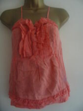 BNWT NEXT Pink Linen Blend Ruffle Lace Up Strappy Top Size 10