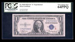 DBR 1935-A $1 Silver Experimental (S) Fr. 1610 PCGS 64 PPQ Serial S74070908C