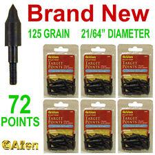 """NEW 72 ALLEN BULLET TARGET ARROW POINTS,125 GRAIN,21/64"""" DIAMETER,FOR ALUMINUM"""