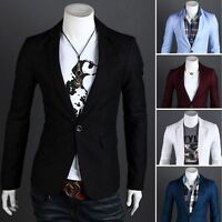 Men Male Formal Slim One Button Suit Jacket Blazers Coat Outwear Tops M-3XL Plus