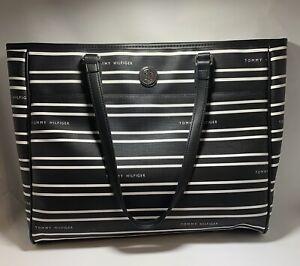 Tommy Hilfiger Black White Stripe XL Tote Shopper Purse Handbag 69J2273 003 NWT