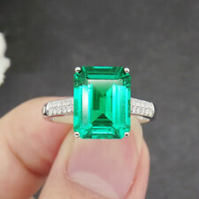8X10MM 4.0Carat 14k White Gold Lab Created Colombian Emerald Emgagement Ring