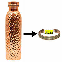 100% Pure Hammered Copper Bottle with Bracelet (Free) Health Benefit 1000 ML