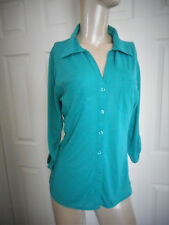 Nwot Almost Famous Women's Xl 3/4 Sleeve Green Button Down Top