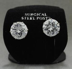 "NWT 1/2"" Silver Tone Clear CZ Cubic Zirconia Stud Post Earrings"