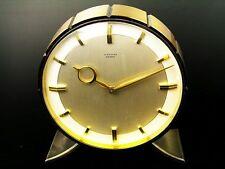 A BIG LATER ART DECO BAUHAUS  BRASS CHIMING  DESK CLOCK  JUNGHANS MEISTER