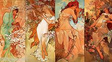Alphonse Maria Mucha The Seasons Oil Painting Canvas Print 18''x36''