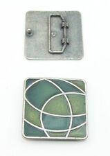1 Schließe / Gürtelschnalle 3 cm altsilber grün Lack 03.50/989