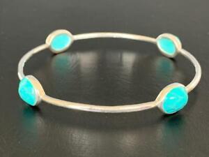 925 Sterling Silver Turquoise Bangle Bracelet Gemstones Semi Precious Gemstones