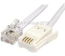 5 Metre 5m BT Plug - RJ11 4 Pin Lead Telephone Modem Cross Over / Wired White