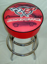 Chevy Corvette Vintage 5 Car Red Bar Stool Stools - NEW