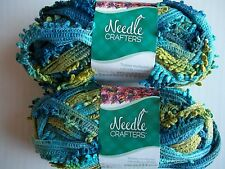 Needle Crafters Wide Mesh Ruffle Fringe yarn, Peacock, lot of 2