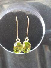 Peridot Oval Cut Dangle Earrings 10kt Solid Yellow Gold