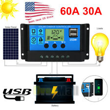 60/30A PWM Solar Panel Battery Regulator Charge Controller Dual USB 12V 24V US