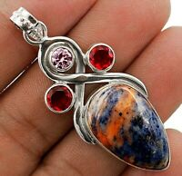 Natural Sodalite 925 Sterling Silver Pendant Jewelry 2 1/5'' Long ED2-3